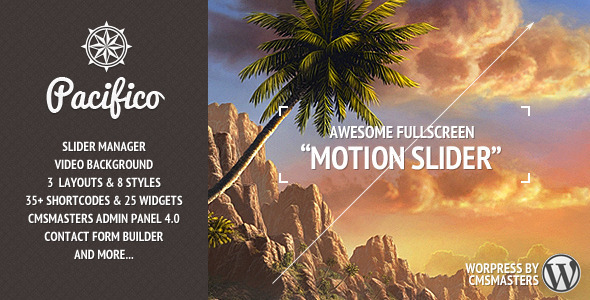 Pacifico - Fullscreen wp theme with motion effect