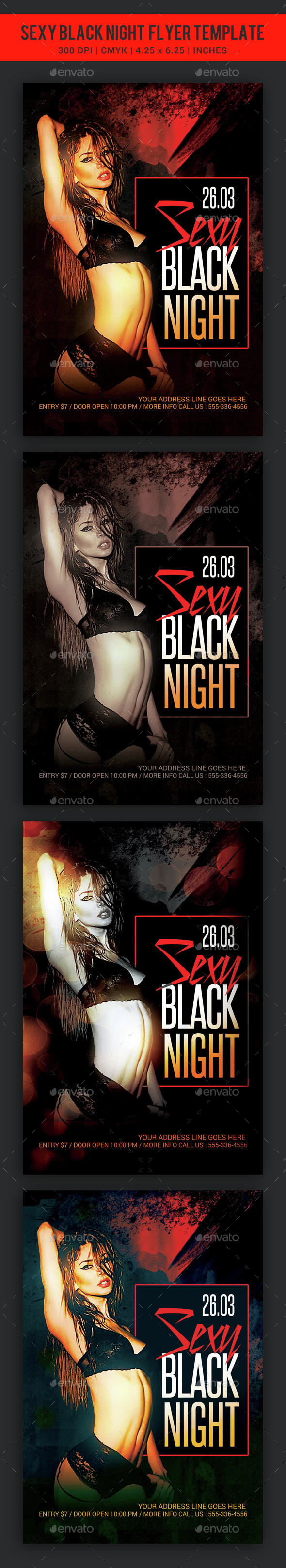 Sexy Black Night Party Flyer template