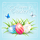 Easter Eggs and Butterflies on Blue Background