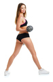 Happy athletic woman with dumbbells doing sport exercise