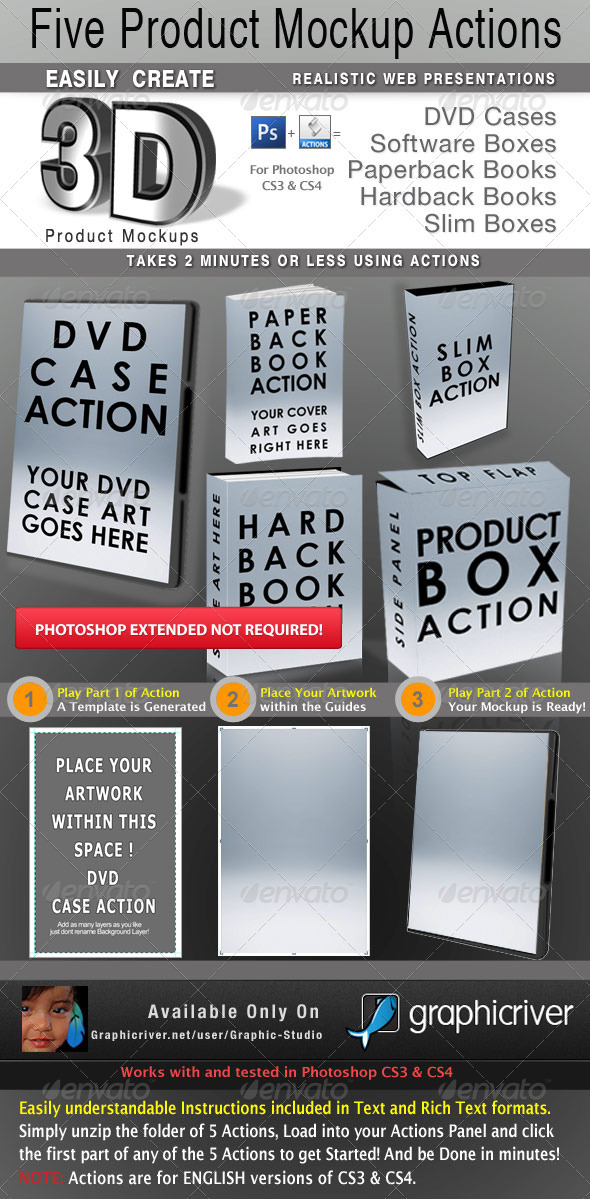 GraphicRiver 5 Photoshop Product Mockup Actions 673691