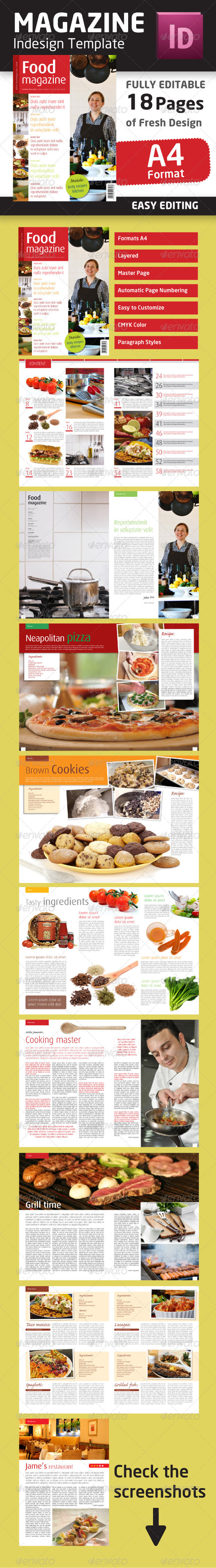 GraphicRiver Indesign Food Magazine Template in A4 format 1474710