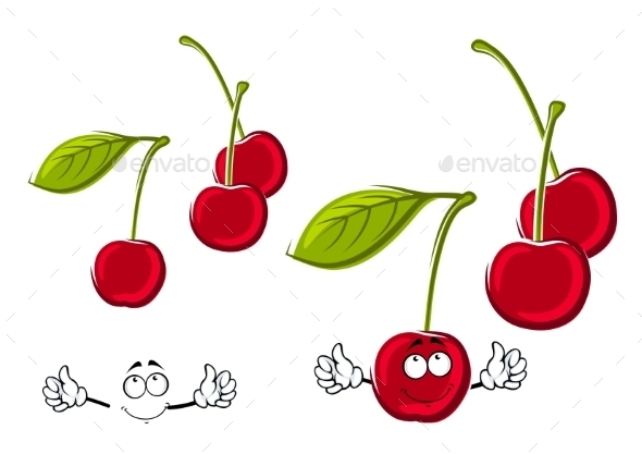 Cartoon Juicy Red Cherries Fruits