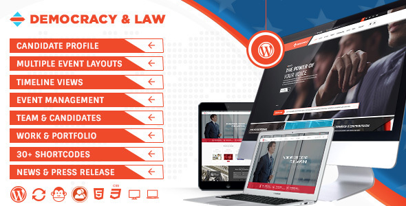 27 - Democracy Political - Lawyer WordPress Theme