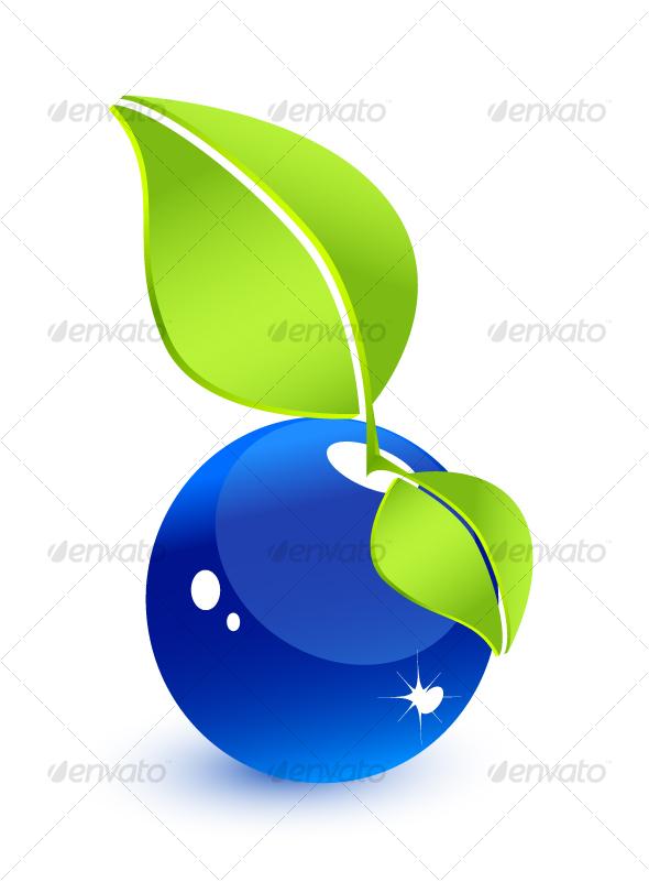 Original blue water-fruit. Environmental concept