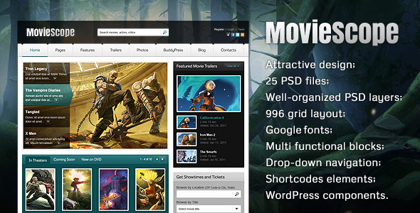 MovieScope PSD Template - Entertainment PSD Templates