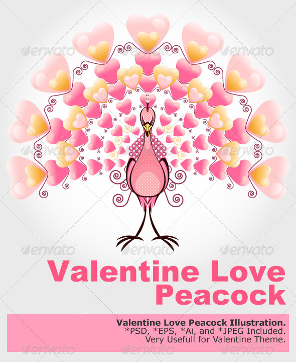 GraphicRiver Valentine Love Bird Peacock 1489168