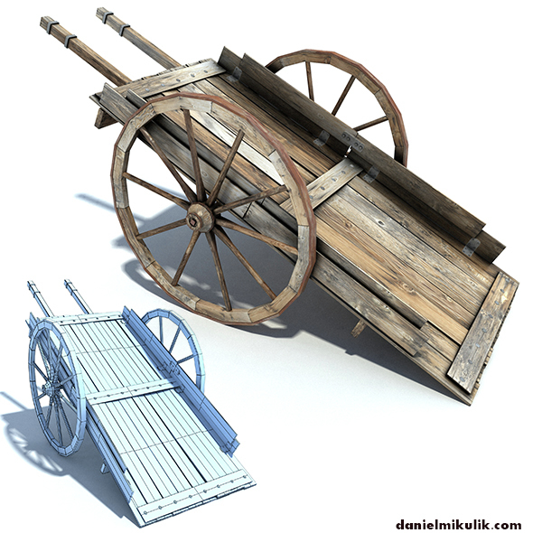 Low Poly Wild West Cart - 3DOcean Item for Sale