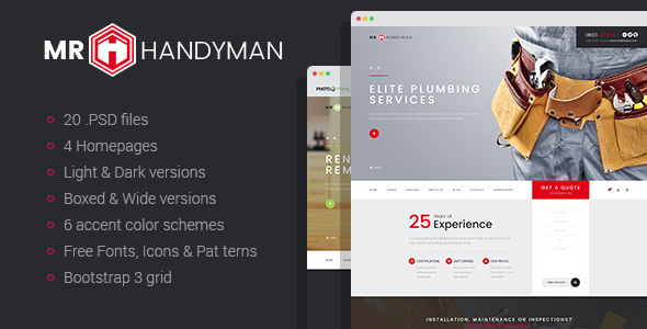 Mr.Handyman - Plumber, Carpenter, Roofing, Renovation, etc. PSD template
