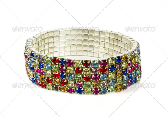Silver bracelet with colour jewels - Stock Photo - Images