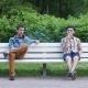 Two Boys Sit In White Bench, Smoke Cigarette