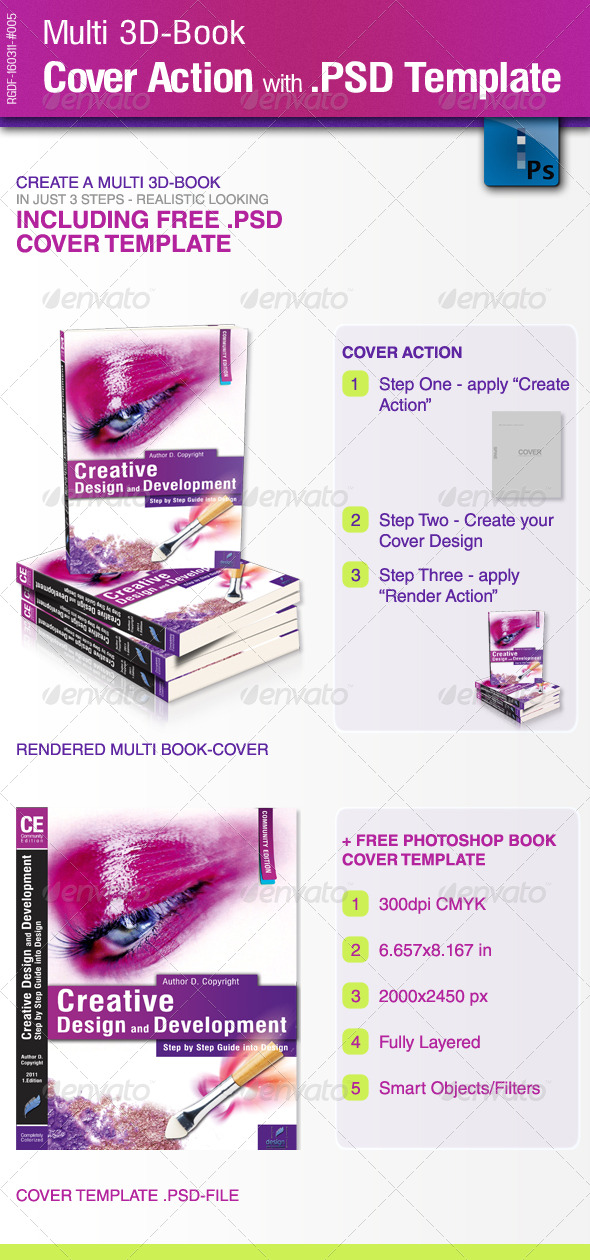 Multi 3D-Book Cover Action with .PSD-Template - Photoshop Add-ons