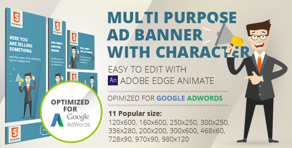 HTML5 Animated banner templates | «Character» - CodeCanyon Item for Sale