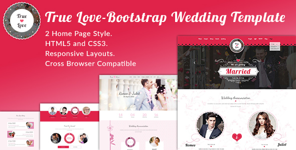 12. True Love-Bootstrap Wedding Template