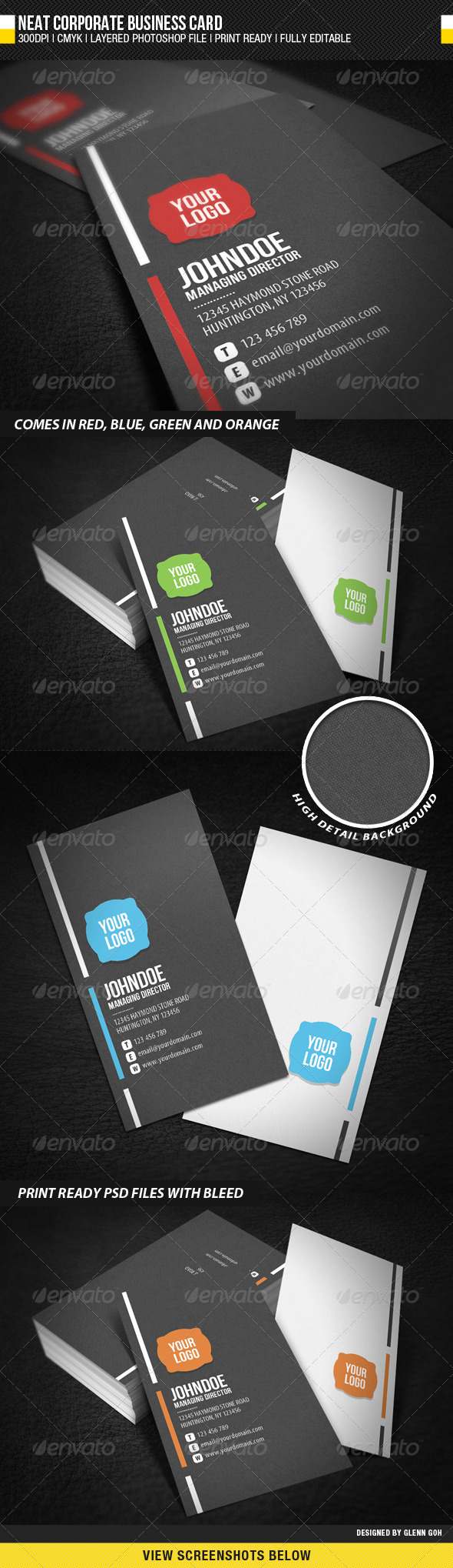 Neat Corporate Business Card - Corporate Business Cards