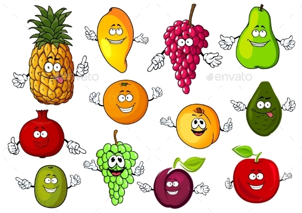 Happy Cartoon Fresh Tropical Fruits