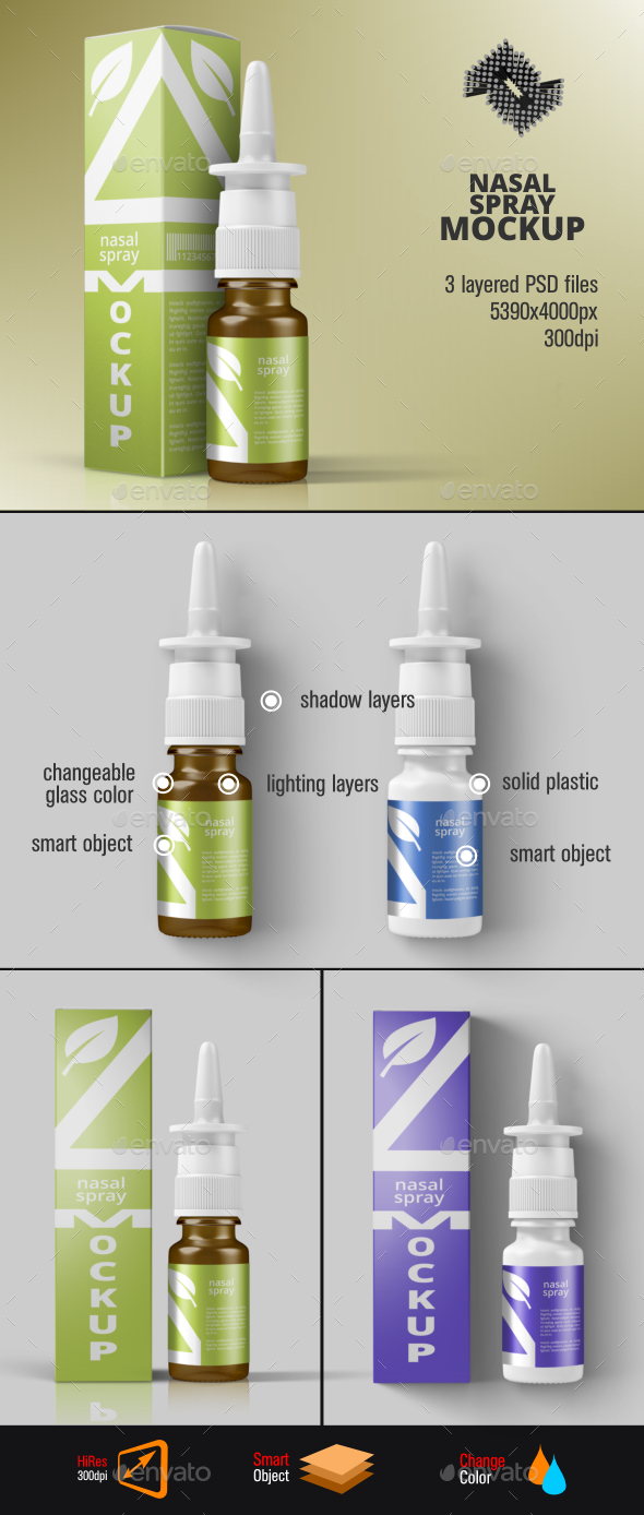 Nasal Spray Packaging Mockup