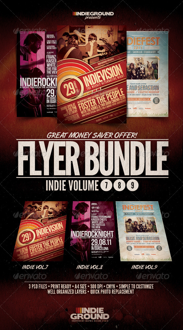 Indie Flyer/Poster Bundle Vol. 7-9 - Clubs & Parties Events