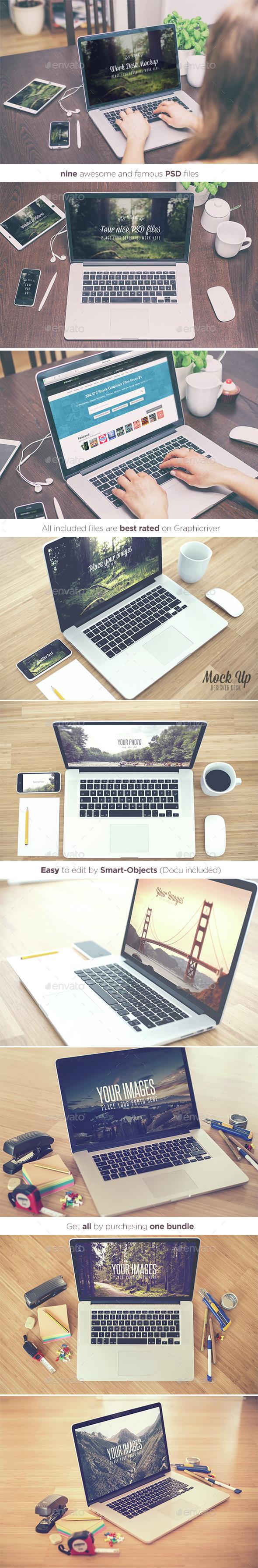 Work Desks - Realistic Mock Up - Bundle  (Displays)