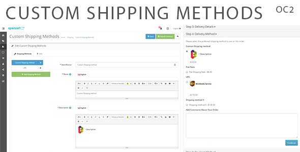 Custom Shipping Methods for OpenCart 2