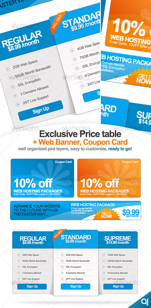 GraphicRiver Exclusive Pricing Table & Web Banner & Coupon Card 58950