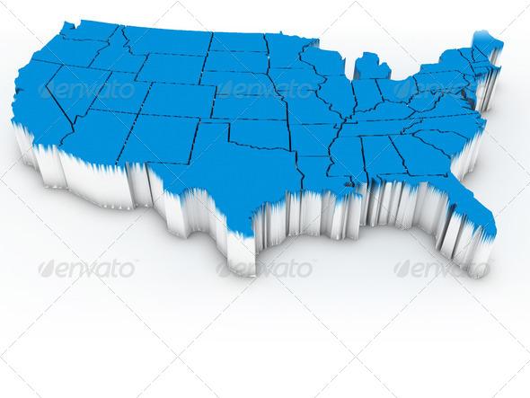 PhotoDune Map of USA 3d 1495308