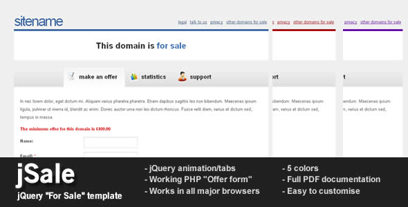 jSale - jQuery and Ajax For Sale template