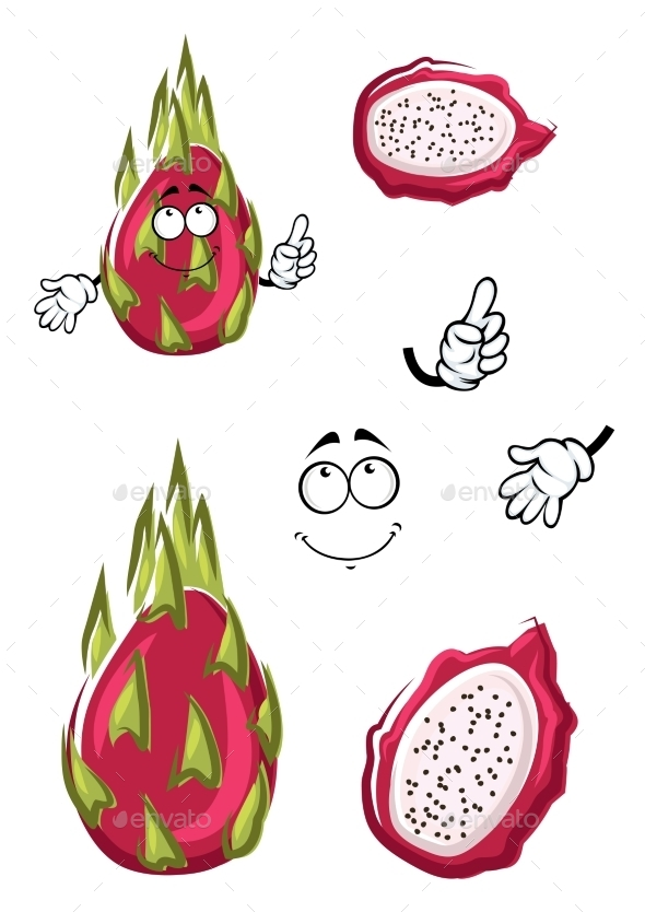 Cartoon Pink Pitaya Or Dragon Fruit