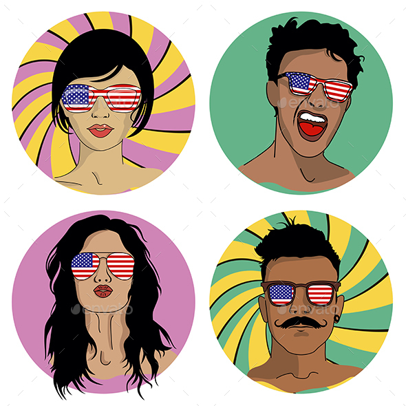 Girls and Boys in Sunglasses with USA Flag