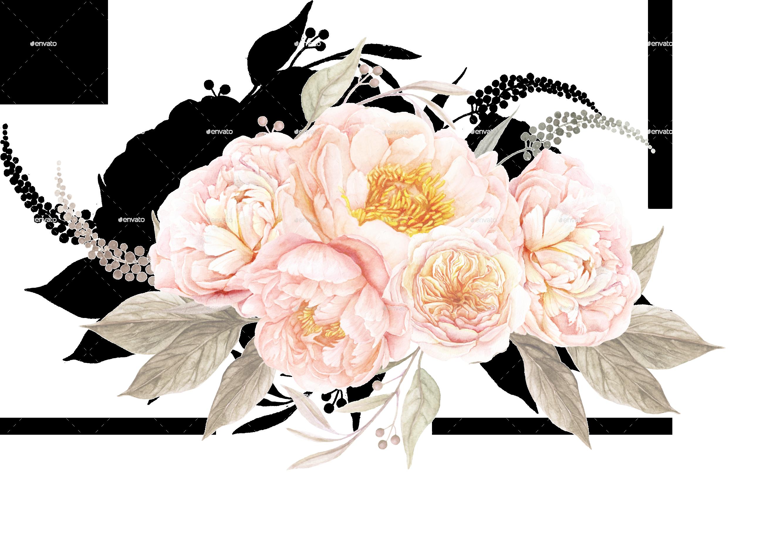 6 vintage floral bouqu...