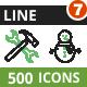 500 Vector Green & Black Line Icons Bundle (Vol-7)