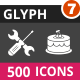500 Vector Inverted Glyph Icons Bundle (Vol-7)