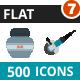 500 Vector Colorful Flat Icons Bundle (Vol-7)