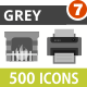 500 Vector Greyscale Flat Icons Bundle (Vol-7)