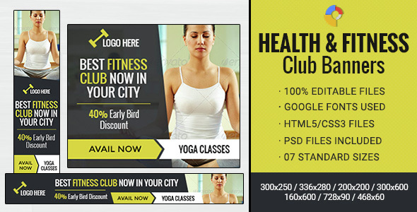 GWD | Health & Fitness Club Banner - 07 Sizes