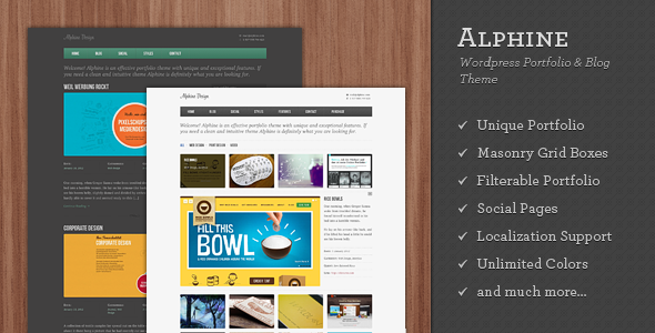 Alphine - WordPress Portfolio and Blog Theme