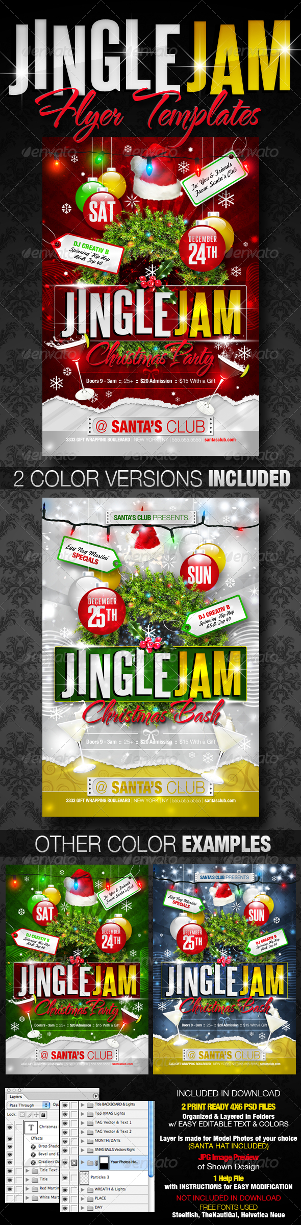 Jingle Jam Christmas Party Flyer Templates - Clubs & Parties Events