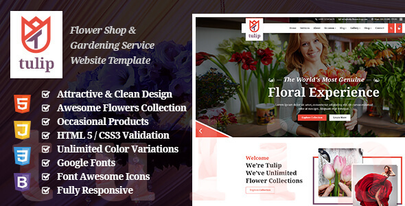 Tulip - Flower Shop & Gardening Service Website Template