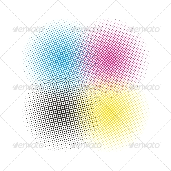 CMYK halftone vector background - Backgrounds Decorative