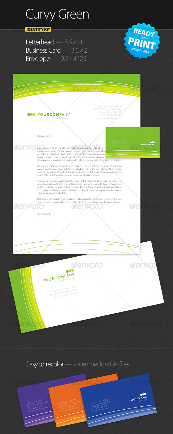 Curvy Green - Identity Kit - Stationery Print Templates