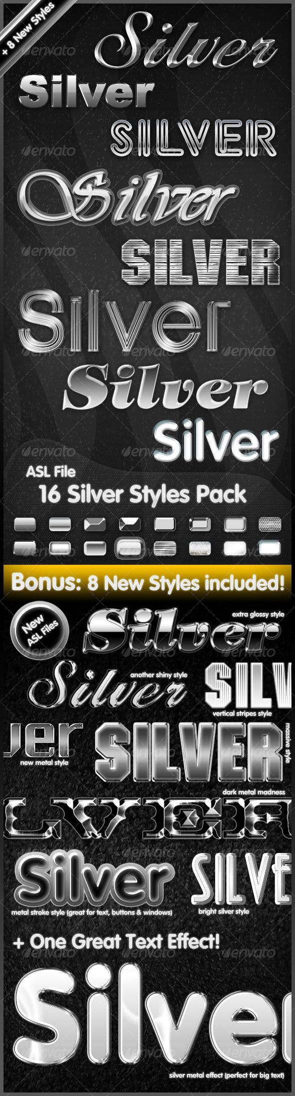 16 Silver Styles Pack - Text Effects Styles