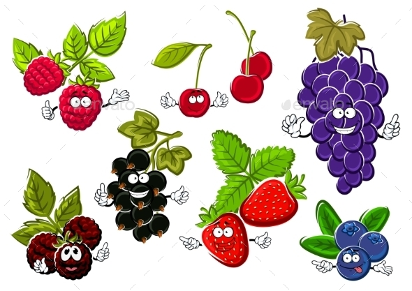 Garden Berry Fruits Happy Characters