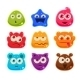 Bright Jelly Characters With Emotions. Vector
