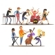 Musicians And Mucical Instruments. Vector