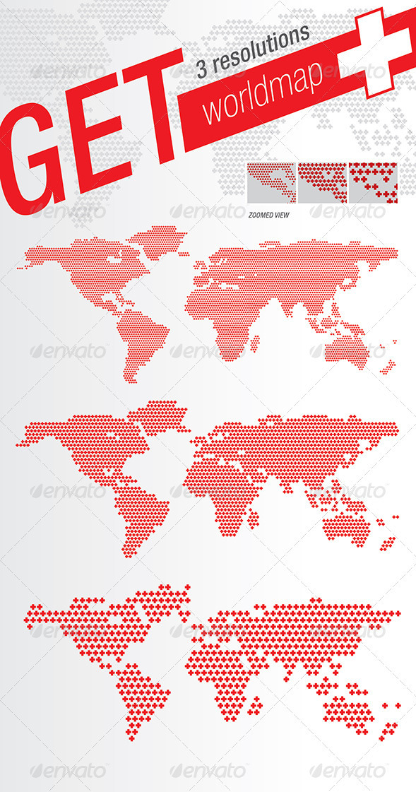 World Map Plus + Crosses - Miscellaneous Vectors
