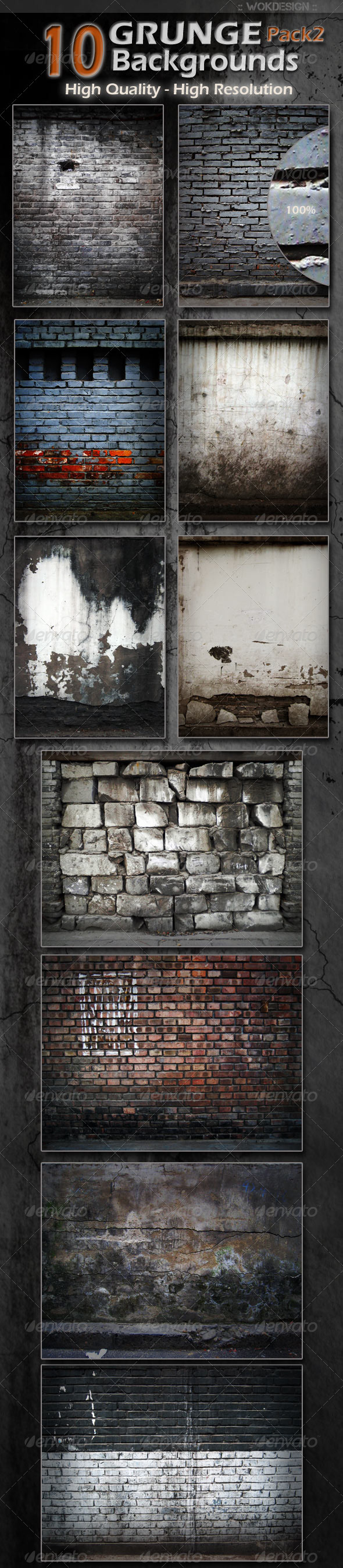 GraphicRiver 10 Grunge Backgrounds Pack 2 1498345