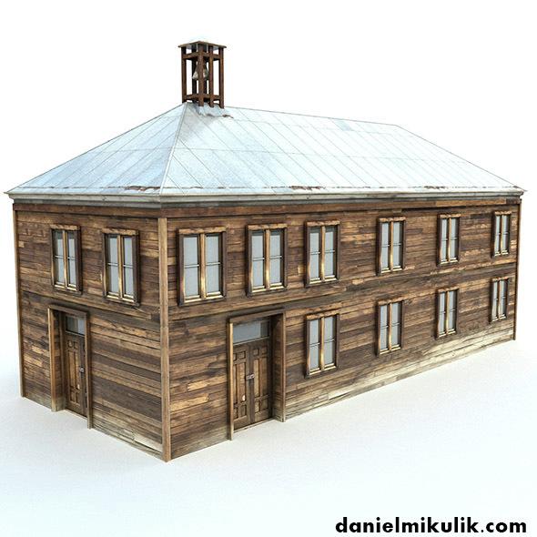 Low Poly Wild West School - 3DOcean Item for Sale