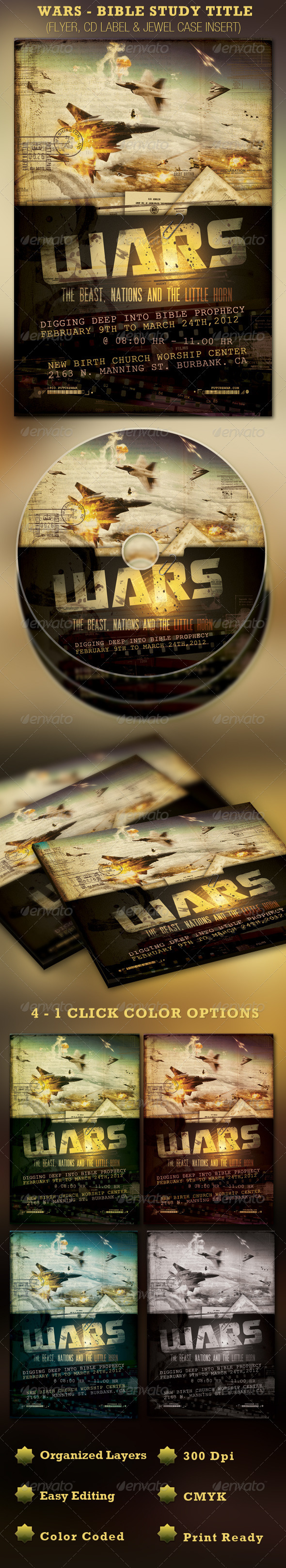 GraphicRiver Wars Sermon Title Flyer and CD Template 1498631