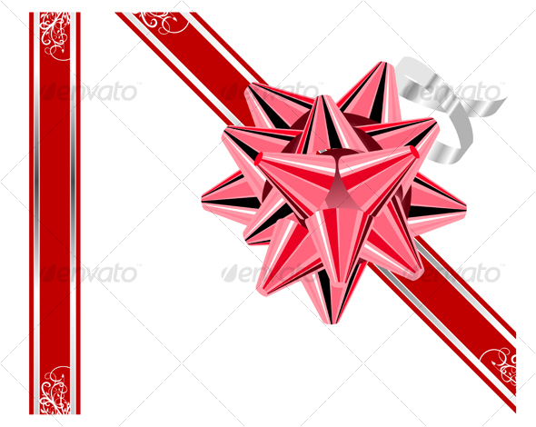 GraphicRiver Red bow with ribbons isolated on white 59086