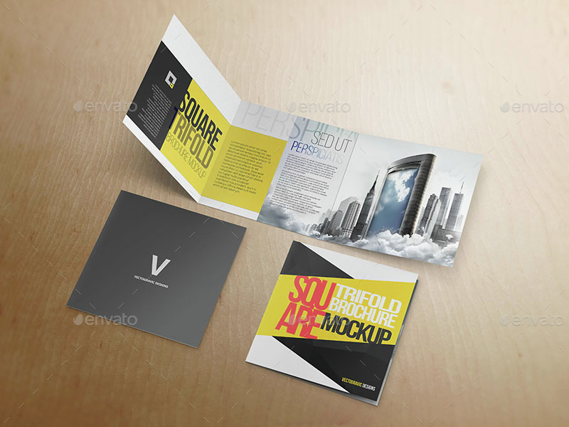 square tri fold brochure mockup by vectogravic graphicriver